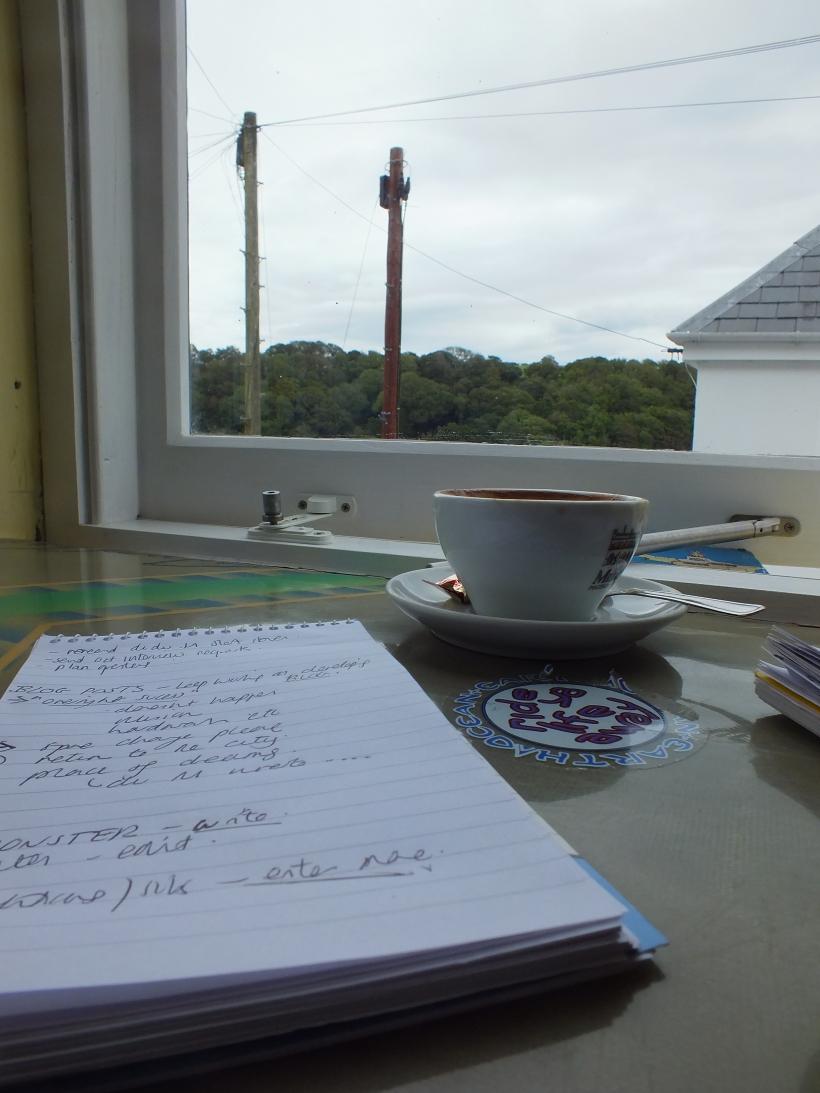 coffee and writing, coffee shop